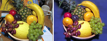 Two photos of a bowl of fruit.  One is taken with a cluttered background, whereas the other is taken with a clear background.