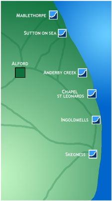 Map of the east coast of Lincolnshire.