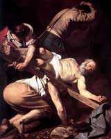 Peter shown wearing only a loincloth and nailed to a cross, being heaved into a vertical upside-down position by three men