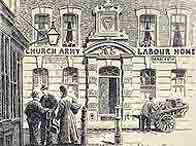 Illustartion showing a grand house with a sign above the door reading 'Church Army Labour Home'