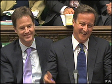 Conservative PM David Cameron (right) and Lib Dem Deputy PM Nick Clegg