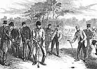 Black and white illustration showing a golf match on Blackheath