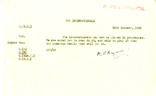 Document - BBC Directive on the Internationale.