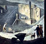 Painting showing the excavation of the Temple of Isis