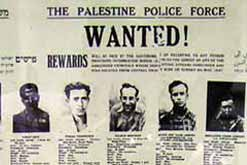Image of newspaper with most wanted Jewish terrorists.