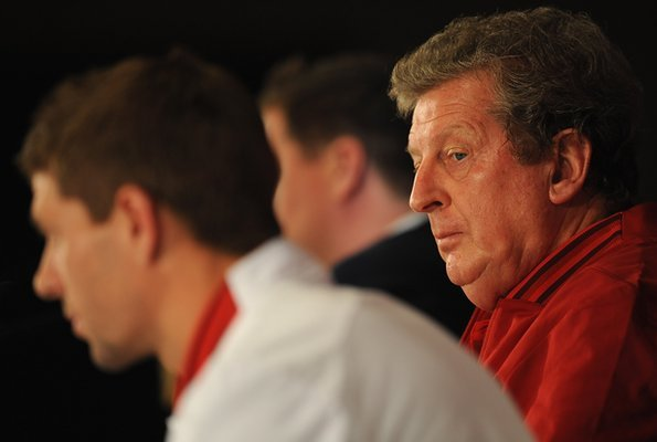 Roy Hodgson and Steven Gerrard at an England press conference