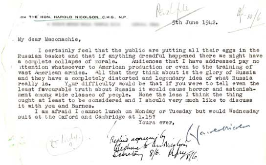 Document - Letter to the BBC from Harold Nicolson.