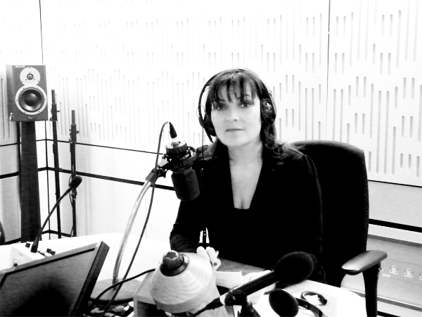 Lorraine Kelly recording Forgive and Forget in the studio.