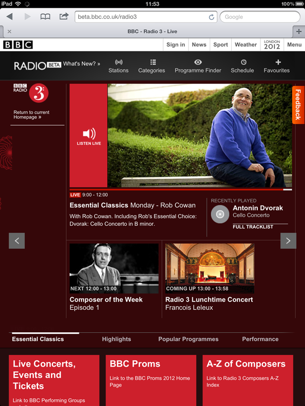 Radio3 homepage on iPad in portrait - showing how content boxes rearrange to suite the orientation, from a column on the right hand side to a row on the bottom.