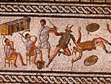 Detail of circus games from a Roman mosaic showing amphitheater scenes from Leptis Magna