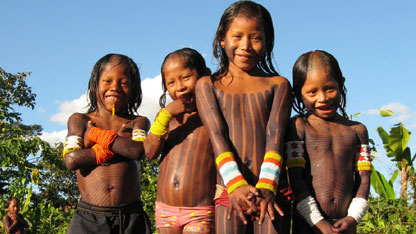 Some Of The Younger Members Kayapo Tribe Pose For Camera