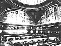 Black and white photograph showing Titanic's domed ceiling designed by Richard Norman Shaw