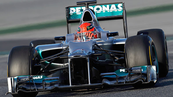 Michael Schumacher drives the new Mercedes W03 during testing in Barcelona on 21 February