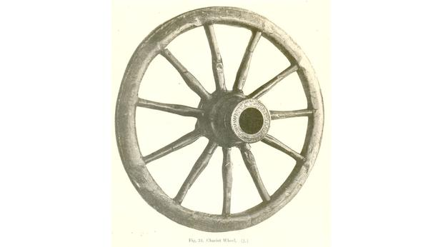 Roman wooden chariot wheel