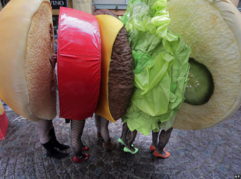 A group of youngsters, dressed up as a sandwich, in a fancy dress march during a Halloween event in Kawasaki, near Tokyo