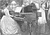 Black and white illustration of woman playing a piano to party guests