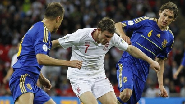 James Milner rivals two Ukraine players