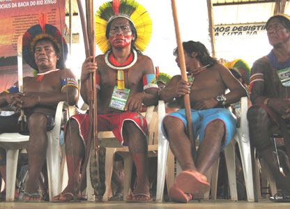 Xingu tribespeople at the protest