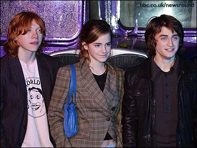 Rupert, Emma and Dan with the Knight Bus.
