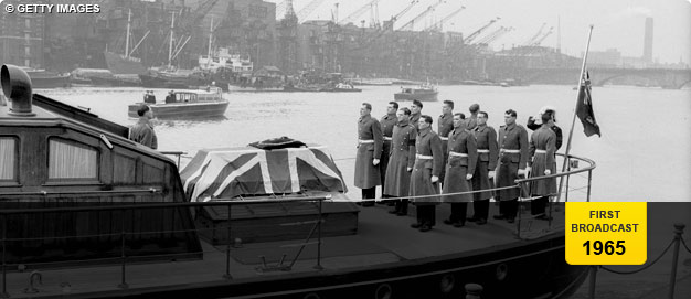 The Royal Marines escort Winston Churchill's coffin towards St Paul's Cathedral.