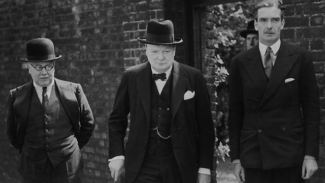 Churchill leaving Downing St  with Sir Kingsley Wood and Anthony Eden, 10 May 1940.