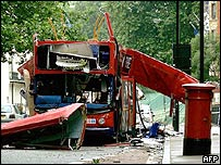 Bombed bus shown from front