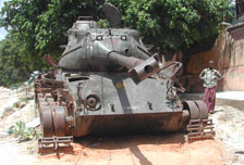 A tank left from the war in Somalia