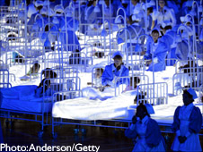 Opening Ceremony London 2012 Olympics. NHS scene