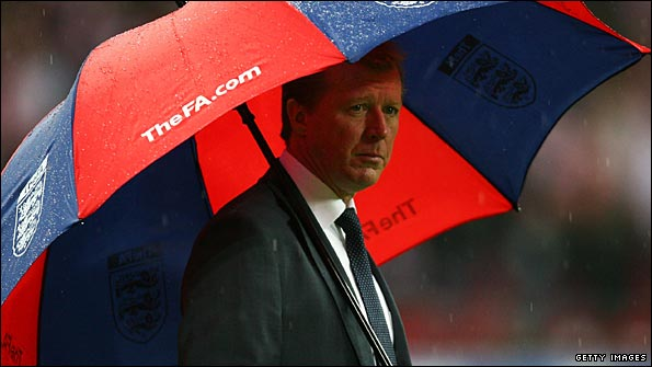 Steve McClaren takes refuge under his umbrella as England blow their chances of qualifying for Euro 2008