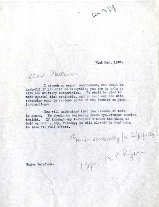 Memo from the BBC to the war office.
