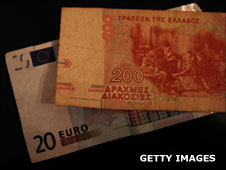 Euro and Greek banknotes