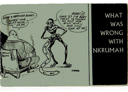 A cartoon depicting a hungry Ghanaian being urged to tighten his belt further by a corpulent boss man