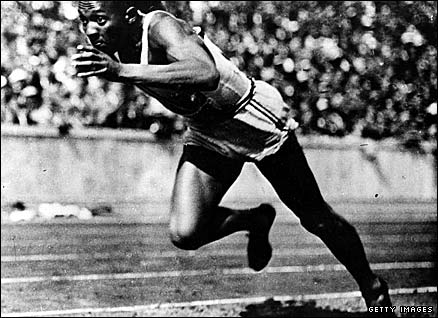 American athlete Jesse Owens competing at the 1936 Berlin Olympics