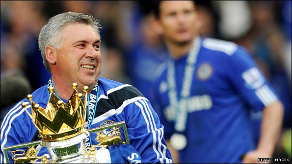 Carlo Ancelotti with the trophy
