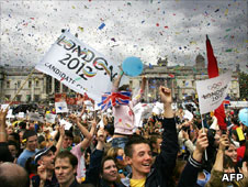 People celebrating London winning the 2010 Olympic Games
