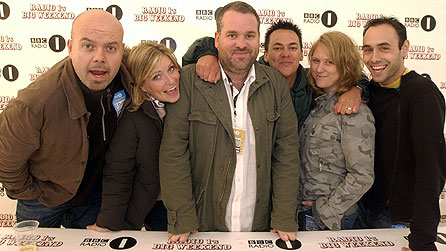From left: Dominic Byrne, newsreader; Carrie Davies, sports presenter; Chris Moyles; Comedy Dave; Rachel Jones, producer; and Aled Haydn Jones, producer