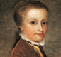 Portrait of a young Mozart holding a nightingale nest.