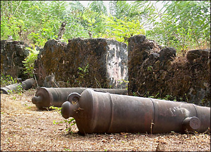 The remains of cannons on the island