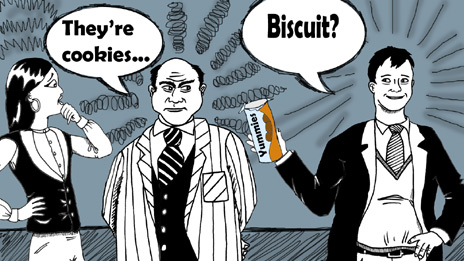 The big boss, Mr Socrates, is offered biscuits by Paul
