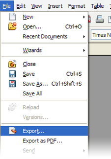 file is clicked, drop down menu, option highlighted is 'Export...'