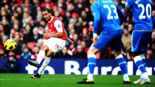 Theo Walcott scores a goal for Arsenal FC