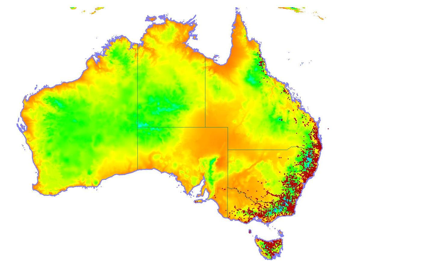 Distribution map of the platypus (image: Melissa and Roland Klamt)