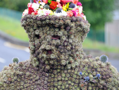 The Burryman, even his face is covered in burs.