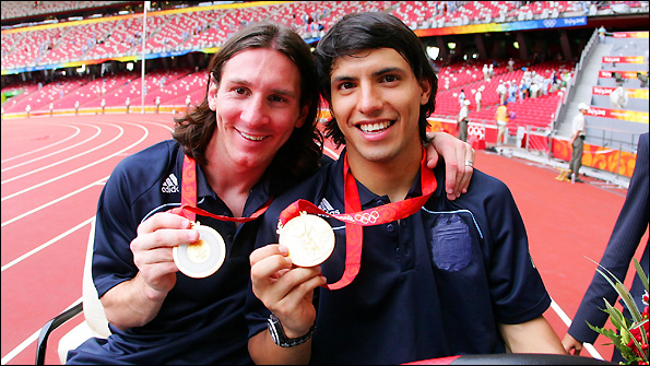 Argentine duo Lionel Messi (left) and Sergio Aguero celebrate winning the Olympic football tournament in 2008.