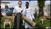 World Service Producer Leo Hornak with Ghanaian master drummer JB Koranteng Krentisl in Accra