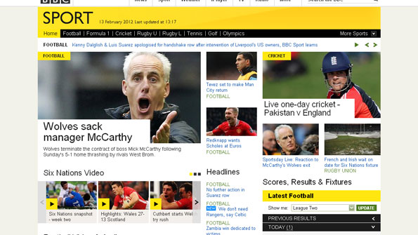 Screenshot of BBC Sport homepage, showing football, cricket, and rugby stories