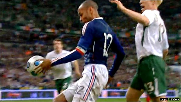 France captain Thierry Henry's controversial handball against the Republic of Ireland