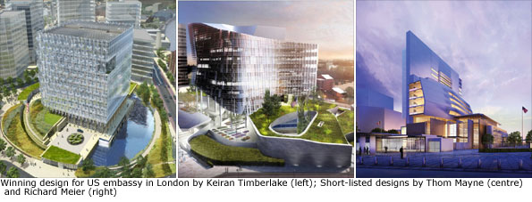 Winning design for US embassy in London and two short-listed designs