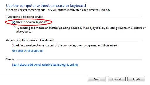 'Use the computer without a mouse or keyboard' window