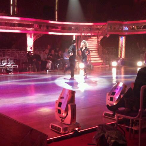 Tina O'Brien and Jared Murillo in dress rehearsal for the Strictly Halloween special